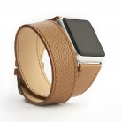 reminky apple watch double stitched BROWN LIGHT - FRONT ROLL watch - 1000 x 1000 px.jpg